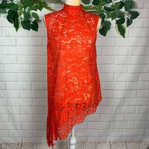H&M women's red lace tunic top size 6